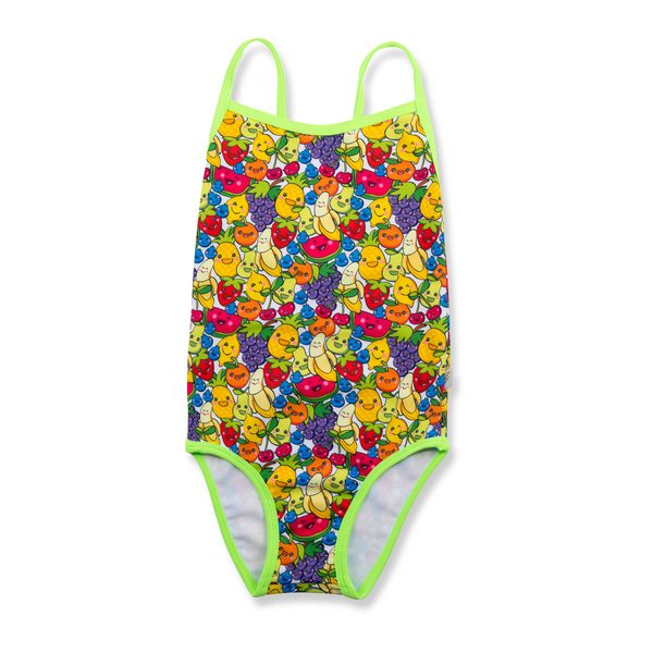 Front view of tutti frutti print swimsuit. Multi colour fruit mix with contrast neon green trim and straps