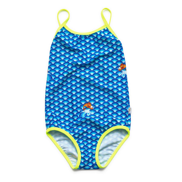 Vibrant blue wave pattern swimsuit with constrast neon yellow straps and leg trim. Scoop front and low cut back.