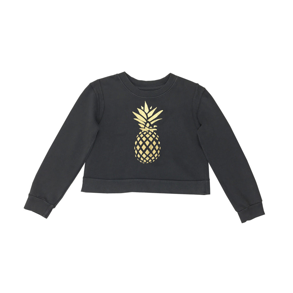 Envelop back sweatshirt in black with fun gold foil pineapple print to front