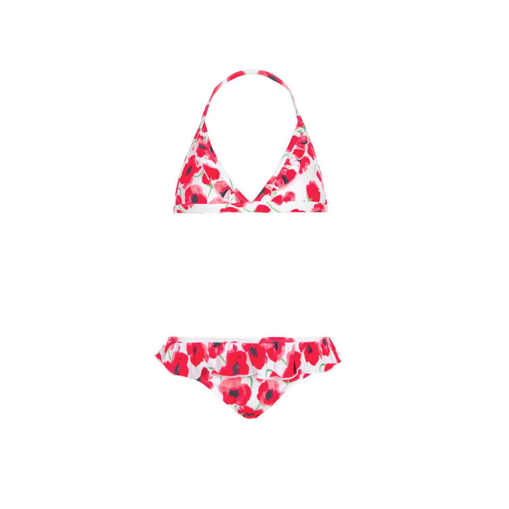 Pretty red poppy print halter neck girls bikini with ruffle detail bikini bottoms