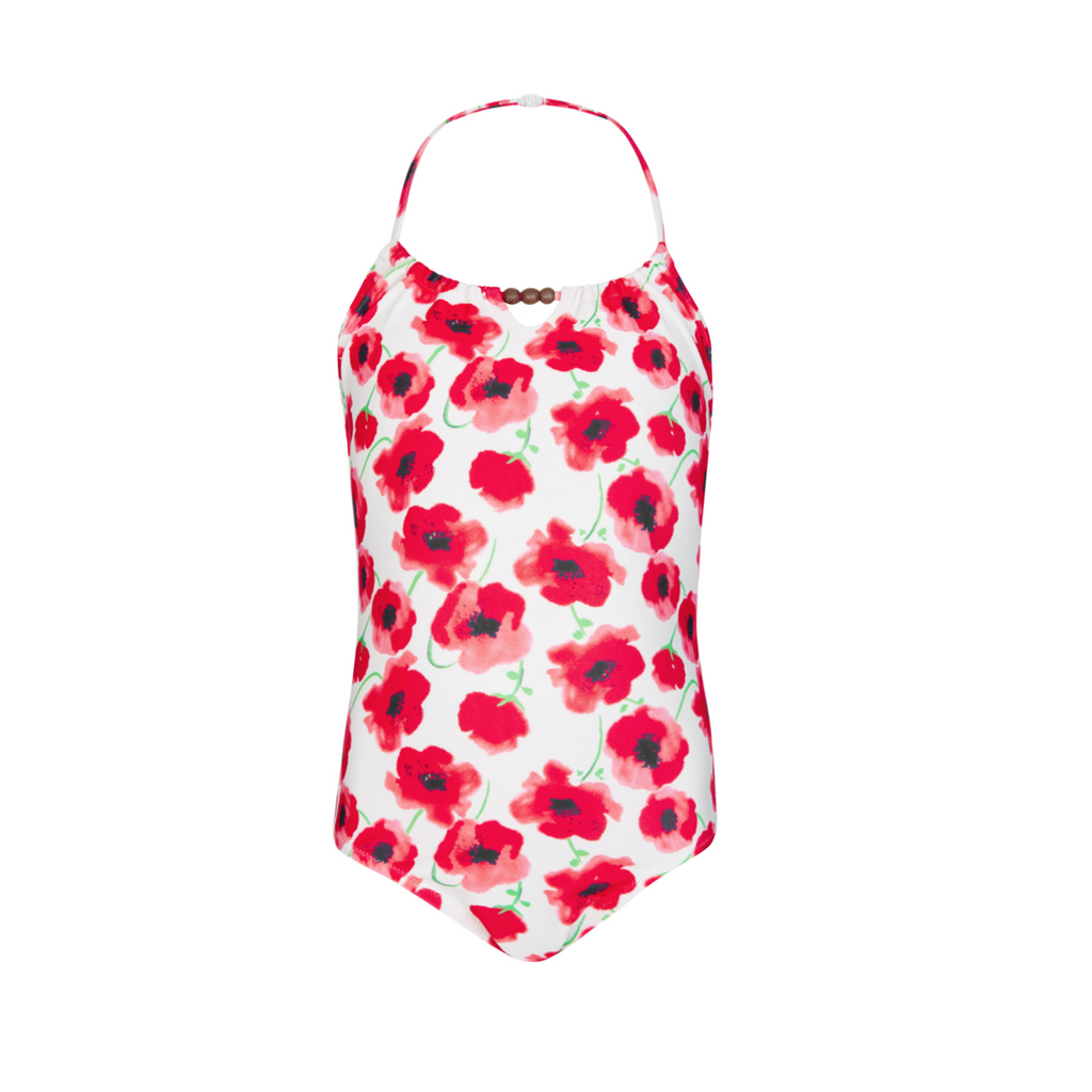 Pretty red poppy print halter neck girls swimsuit with bead detail at neckline.