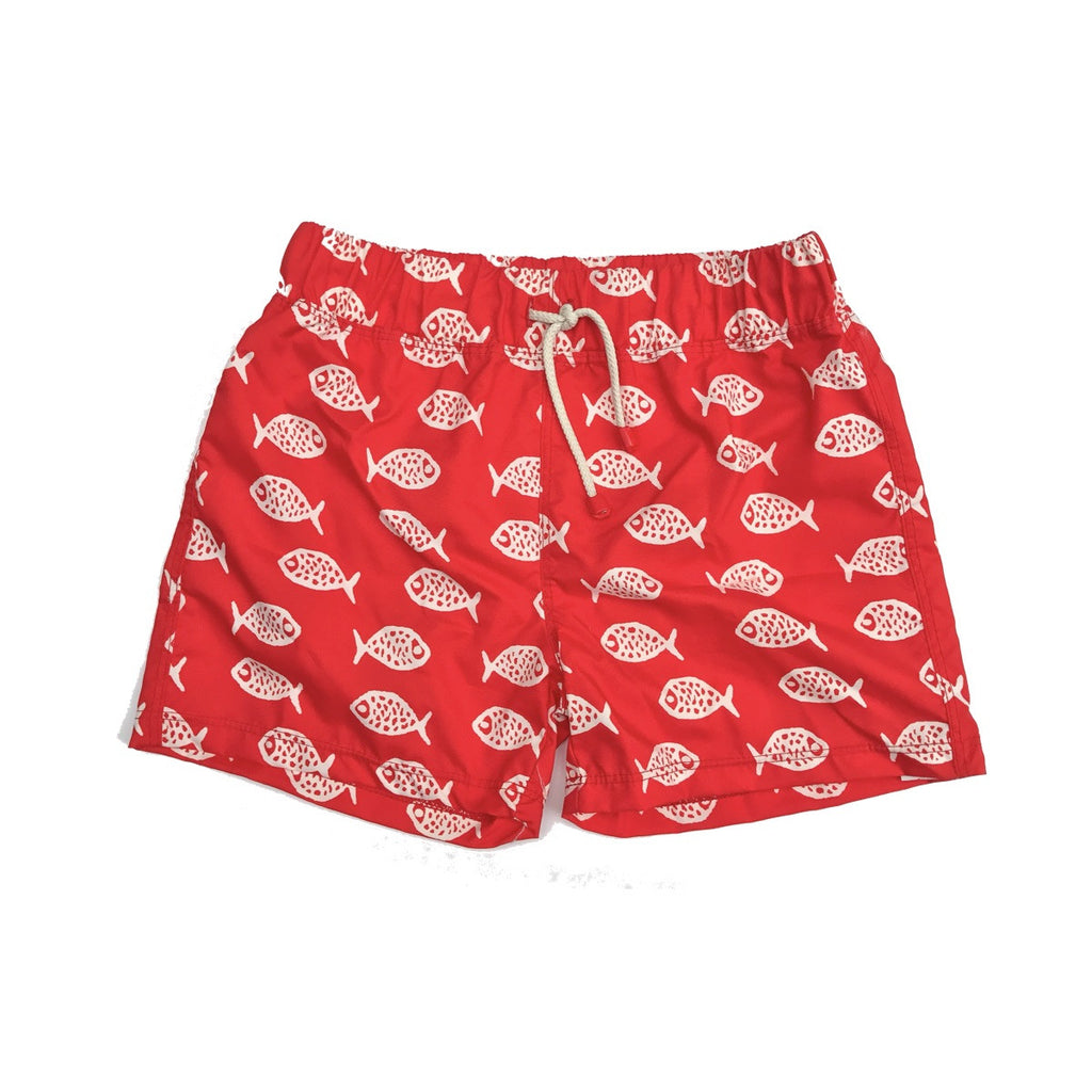 Fun fish print swim shorts. White fish print on red base with drawstring tie at waist