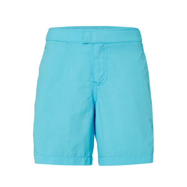 Classic and bright turquoise tailored swim shorts with contast navy trim pockets. Elasticated waistband, lightweight and quick-drying UPF50+ fabric.
