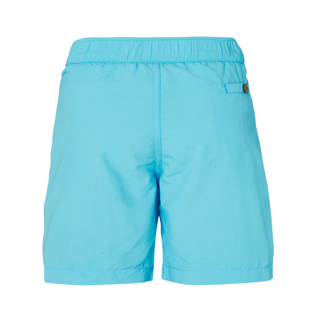 Back view of boys turquoise tailored swim shorts showing pocket detail with button
