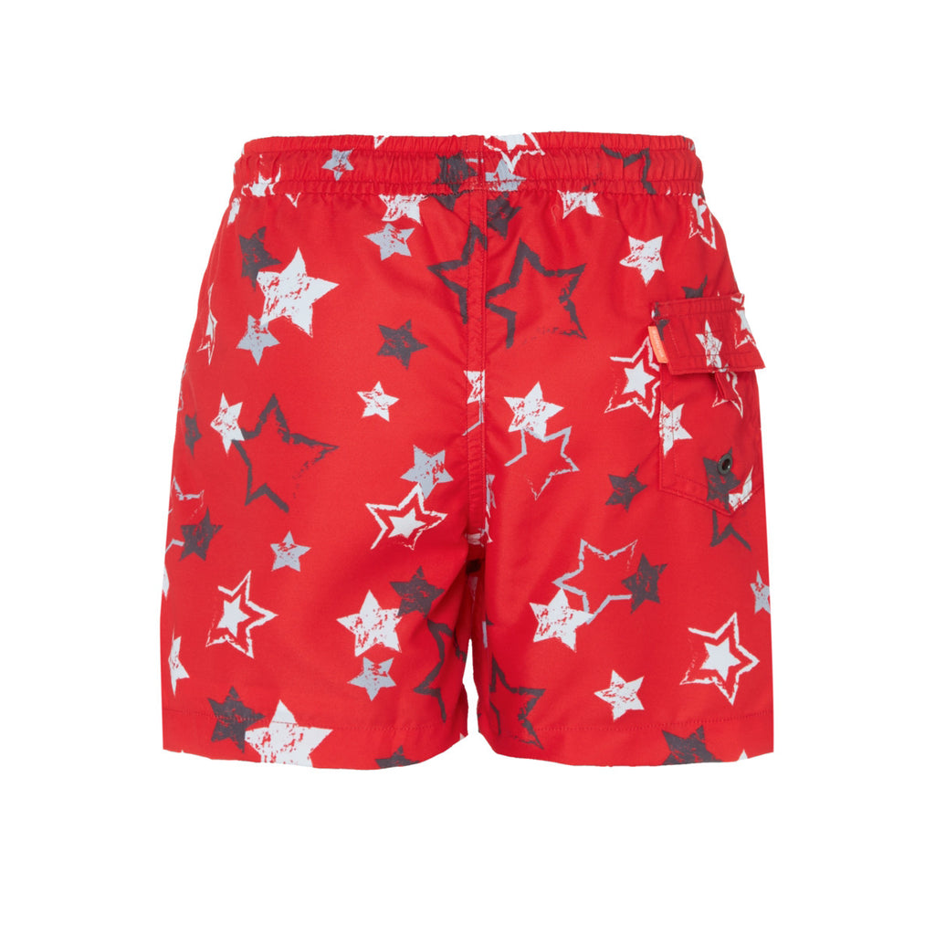 Back view of bold and fun red swim shorts with white and blue star print. Lightweight, quick-drying fabric with elasticated waistband and drawstring