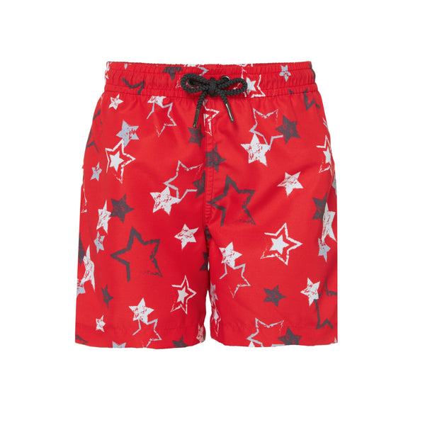 Bold and fun red swim shorts with white and blue star print. Lightweight, quick-drying fabric with elasticated waistband and drawstring