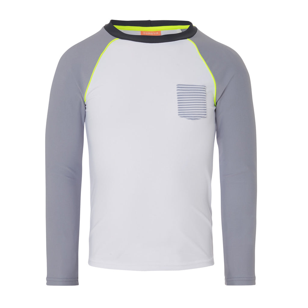 Simple and stylish long sleeve rash vest with UPF50+ protection. Quick drying white fabric, with soft grey sleeves and neon pop piping and elbow patches. A beach essential to protect against 97% of harmful rays.