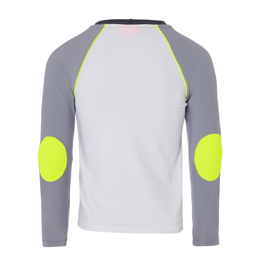 Back view of sunuva stripe boys long sleeve rash vest White body with grey long sleeves. Neon yellow piping and elbow patches