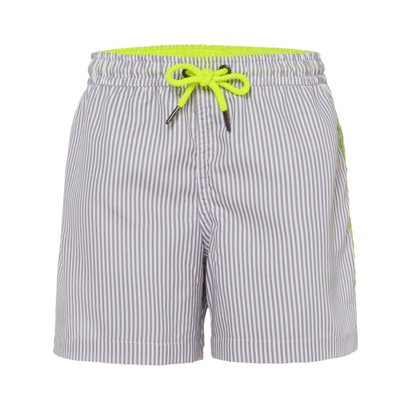 Subtle soft grey stripe swim shorts with contrast neon piping and tie cord. Classic shape in lightweight, quick-drying UPF50+ fabric.