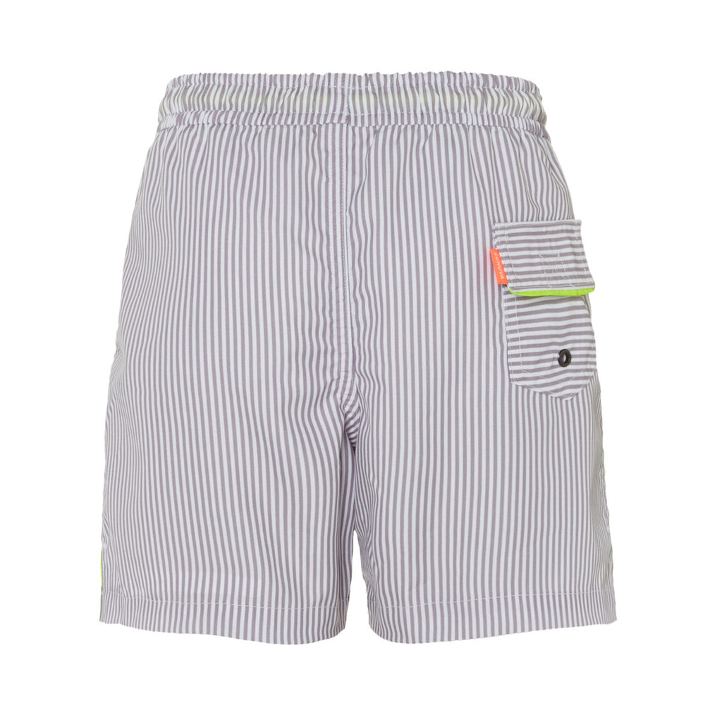 Back view of sunuva stripe boys swim shorts. Back pocket with neon piping detail.