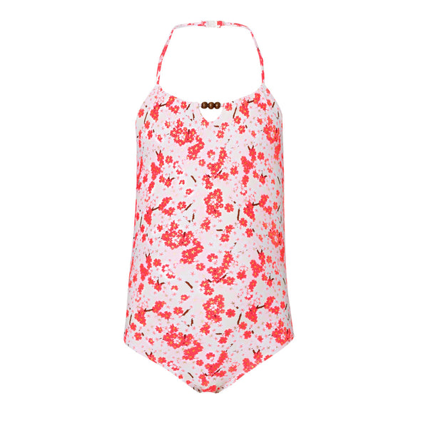 Beautiful Japanese blossom print halterneck swimsuit. Colourful and bright print in reds, pinks and a touch of gold - with natural coconut button detail.