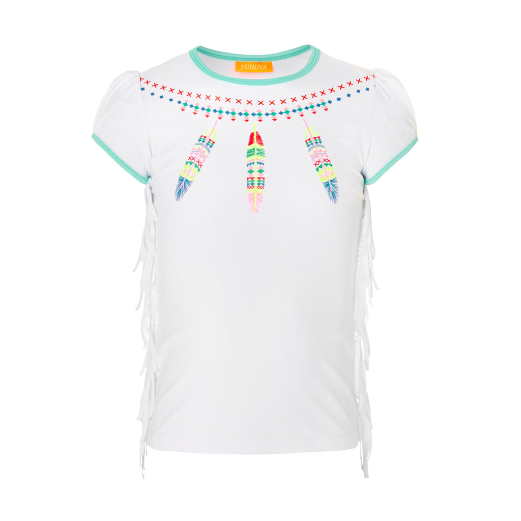 Stylish Navajo Dreamcatcher print short sleeve rash vest. White base with fun bright feather detail and fringing to side seam. UPF50+ protection.