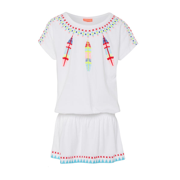 Simple yet striking dropped waist dress with fun and vibrant Navajo Dreamcatcher print on white jersey cotton. Bright cross stich detail to neckline, shoulderline and hem.