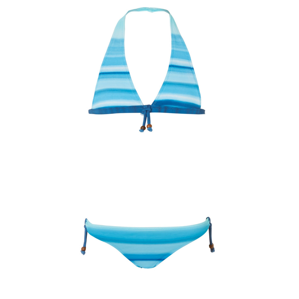 Striking and bold blue graphic print bikini. Halterneck top with matching bottoms and blue tie-string detail.