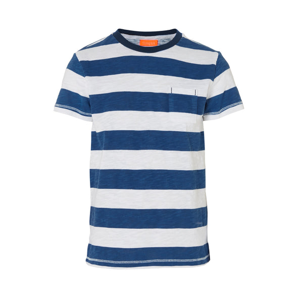 Bold and simple wide-striped navy marl t-shirt. High quality cotton for soft and comfortable fit. Small pocket detail to front and contrast navy neckline. A simple holiday essential.