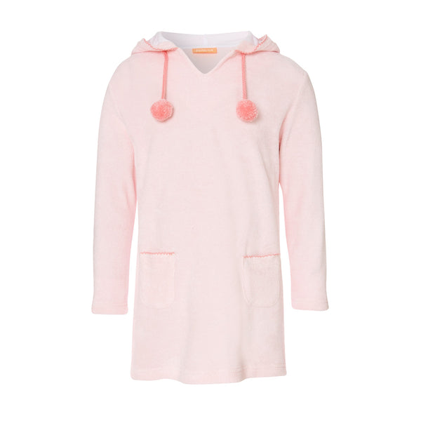 Cute baby pink towelling dress with hood. Perfect as an after-swim throw on. Lightweight absorbent fabric with fun pom pom and stitch detailing.