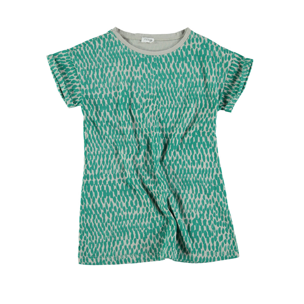 Versatile t-shirt dress in grey with bold all-over green graphic print. 100% cotton