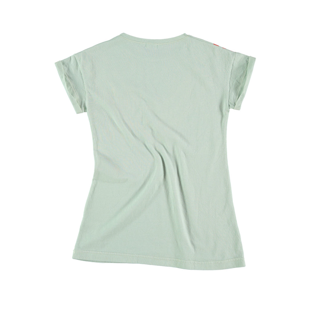 Back view of versatile t-shirt dress in aqua. 100% cotton