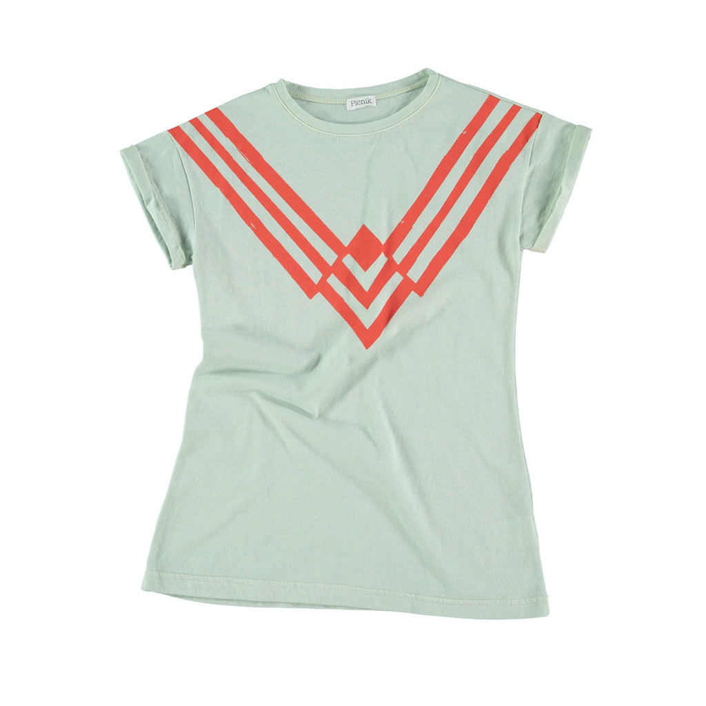 Versatile t-shirt dress in aqua with red graphic striped 'v' print to front. 100% cotton