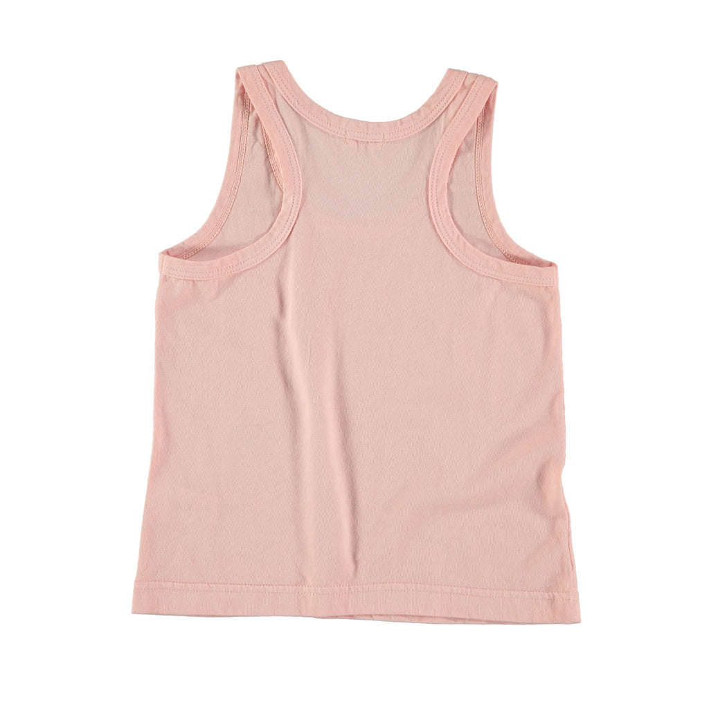 Back view of pale pink cotton vest top. 100% cotton