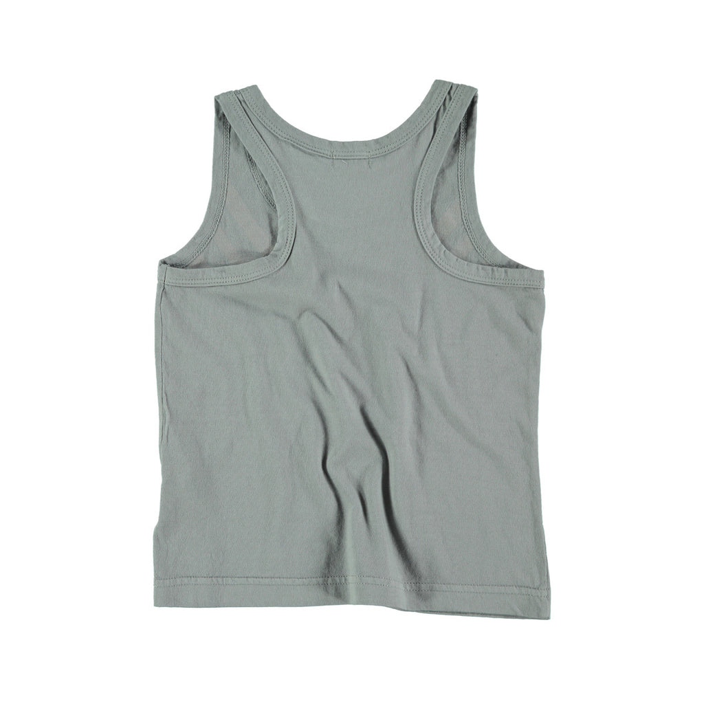 Back view of unisex cotton vest top in grey. 100% cotton