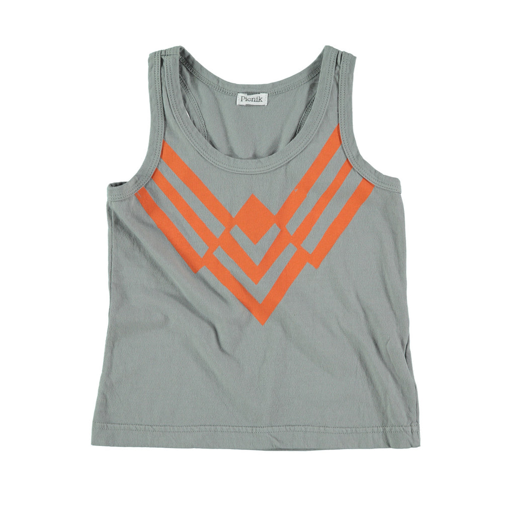 Unisex cotton vest top in grey with orange graphic striped 'v' print to front. 100% cotton