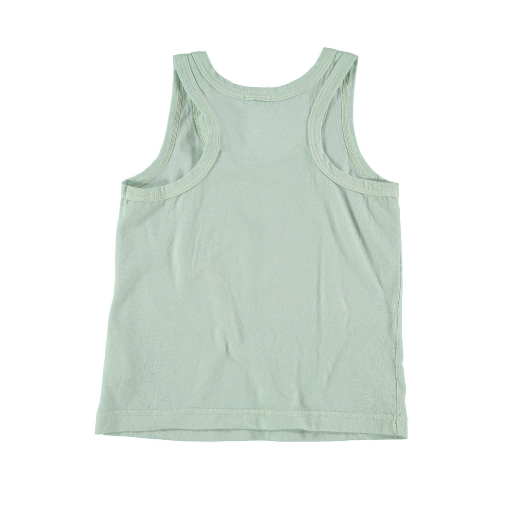 Back view of unisex cotton vest top in aqua. 100% cotton