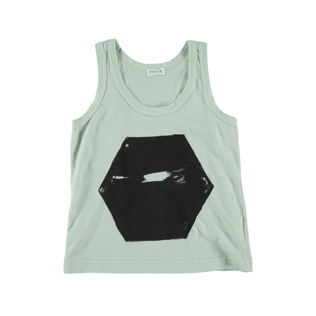 Unisex cotton vest top in aqua with scratched black hexagon graphic to front. 100% cotton