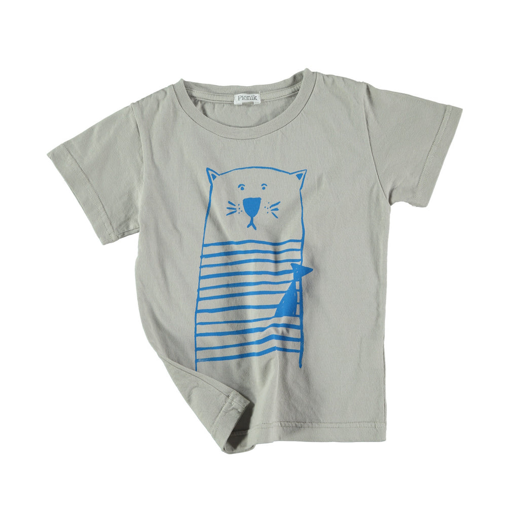 100% cotton t-shirt in grey with fun blue cat graphic to front