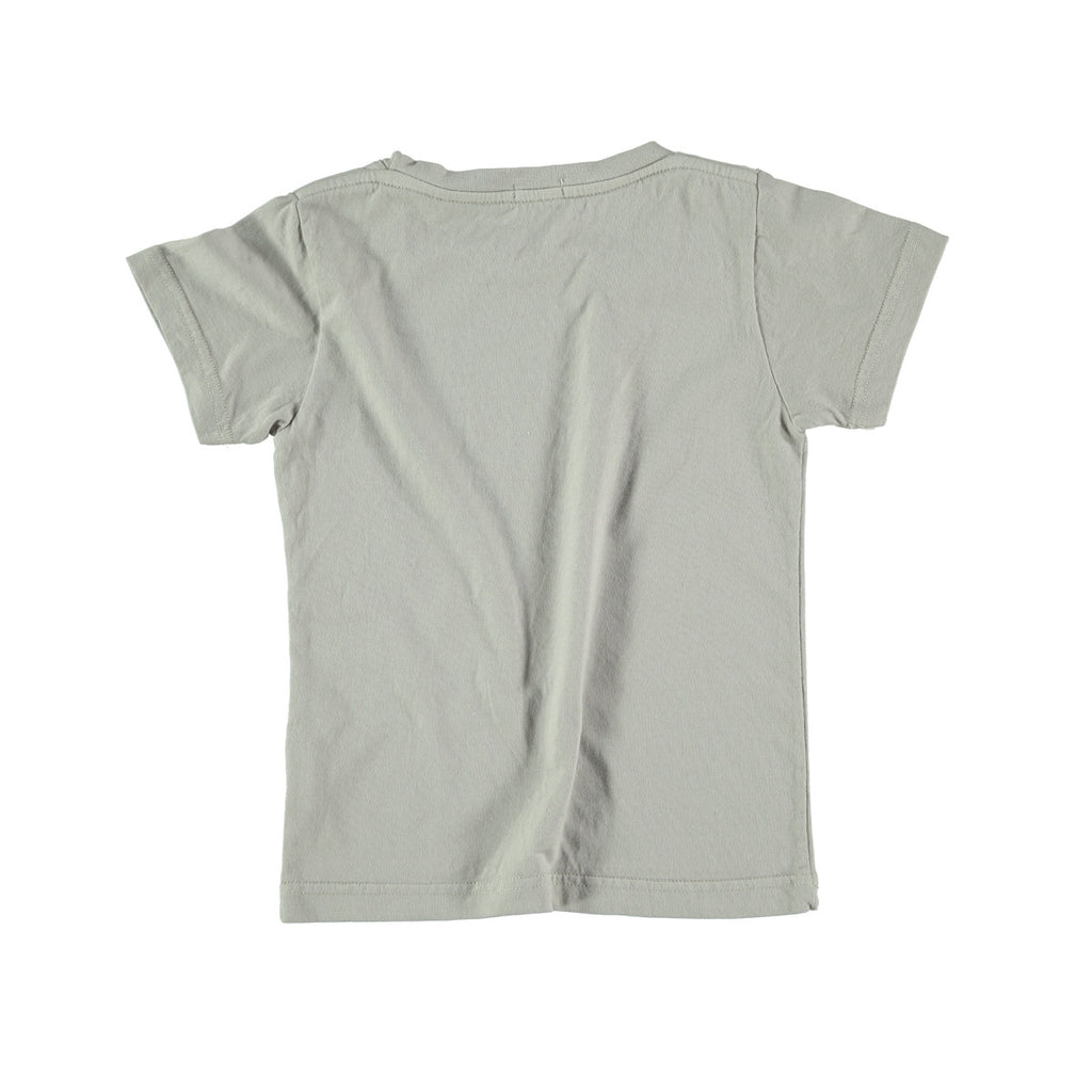 Back view of 100% cotton t-shirt in grey