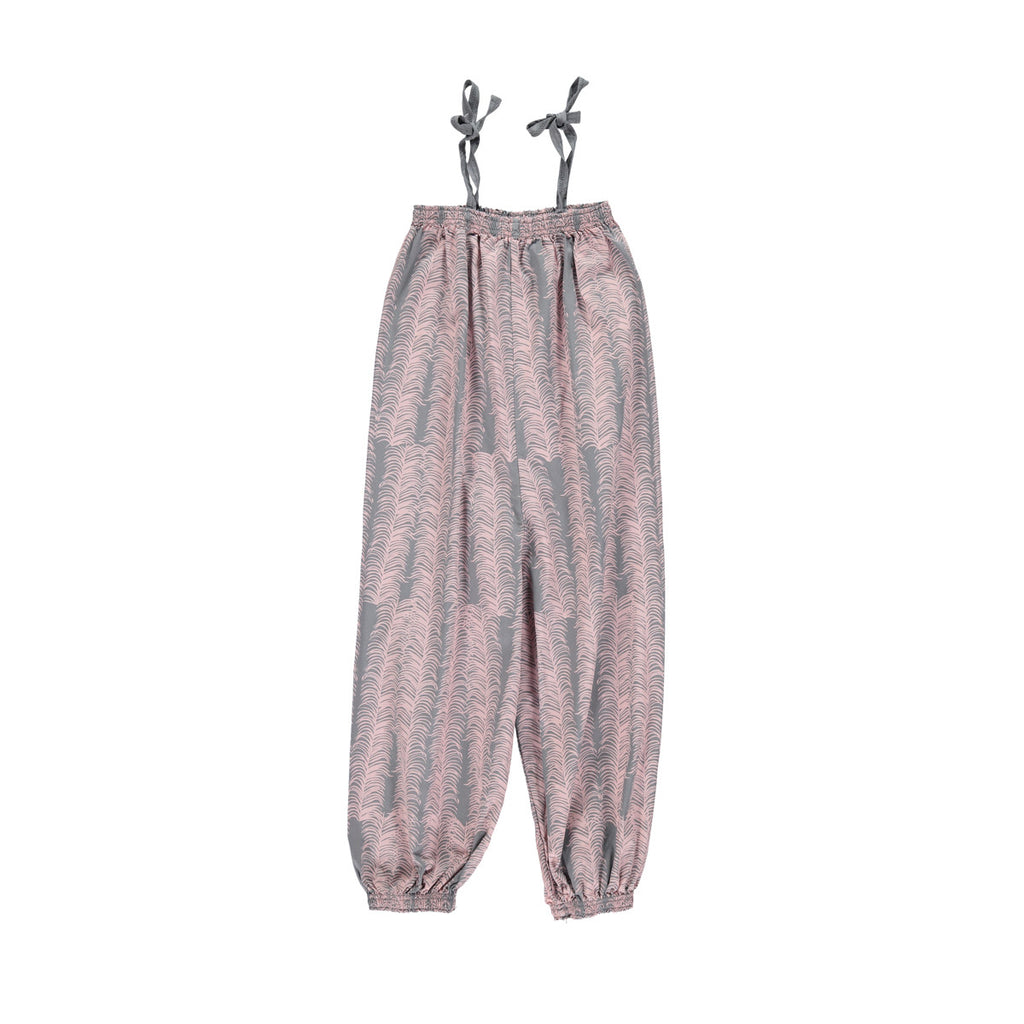 Long jumpsuit with elasticated top and shoe-string tie shoulder straps. Grey base with pretty pink allover heather print. 100% cotton
