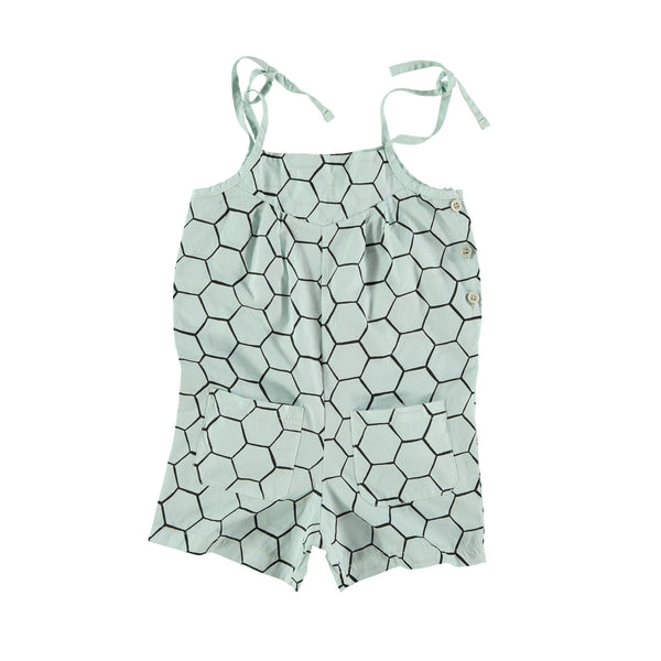 Shorts onesie with button side and shoe-string tie shoulder straps. Aqua base with black honeycomb outline print. 100% cotton
