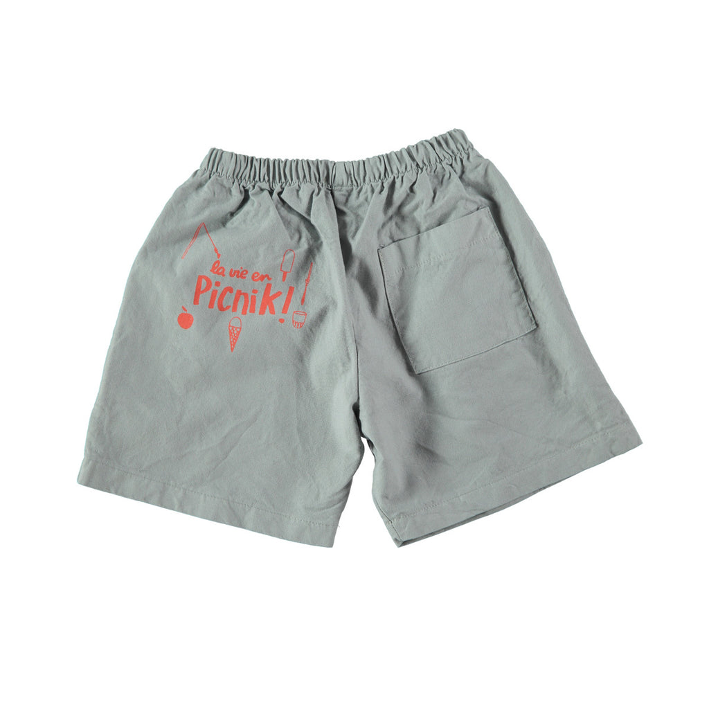 Back view of cotton Bermuda shorts in dark grey with 'Picnik' design on reverse. 100% cotton with elasticated waist and side and back pockets
