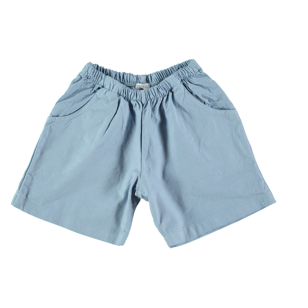 Cotton Bermuda shorts in mid blue with 'Picnik' design on reverse. 100% cotton with elasticated waist and side and back pockets