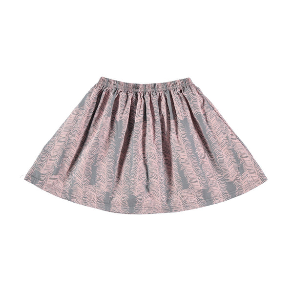 Full, gathered cotton skirt in grey with pretty pink allover heather print. Elasticated waist. 100% cotton