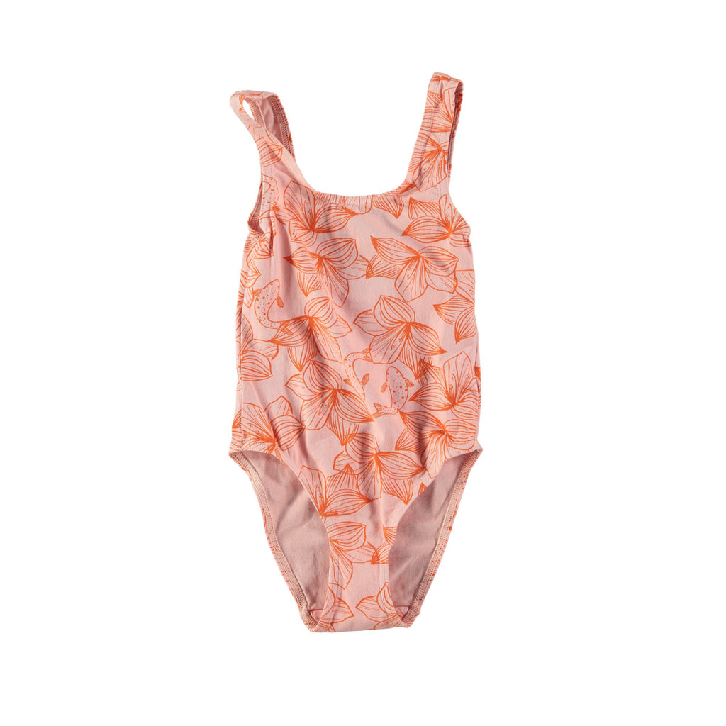 Classic scoop neck swimsuit in pink with pretty orange flower design. Cotton and lycra