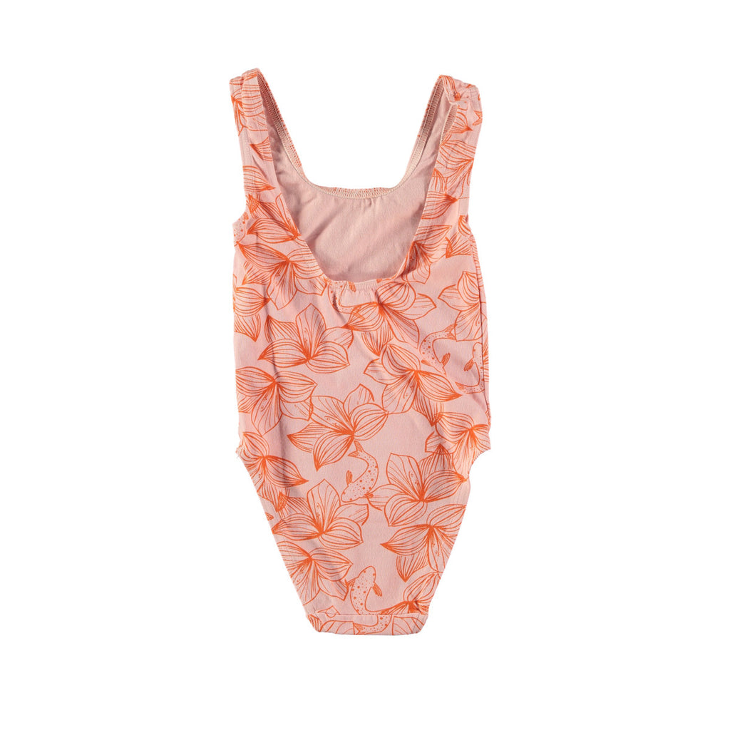 Back view of classic scoop neck swimsuit in pink with pretty orange flower design. Cotton and lycra
