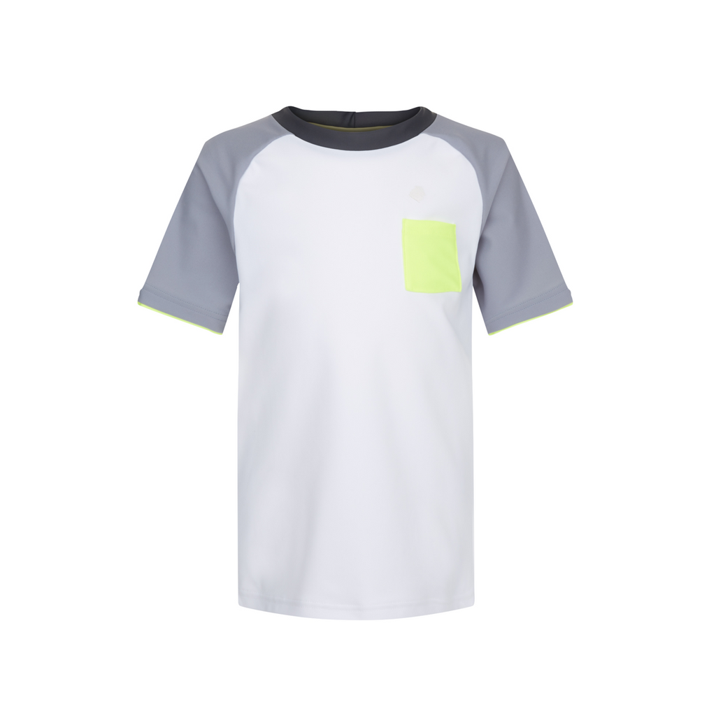 Simple and stylish short sleeve rash vest with UPF50+ protection. Quick drying white fabric, with soft grey sleeves and neon pop piping and pocket patch