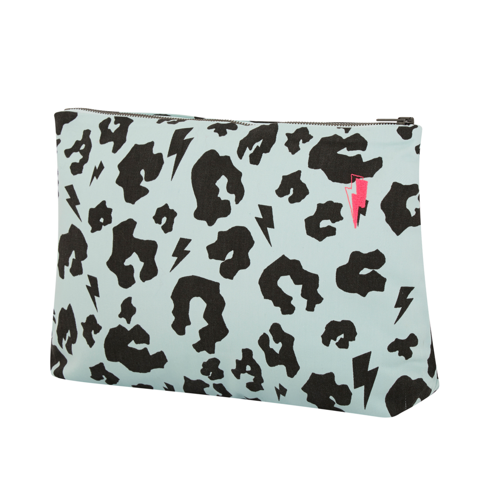 Side angle view of Supersoft cotton multi purpose swag bag in pale green with signature black leopard and lightning bolt print. 35cm x 25cm with zip closure