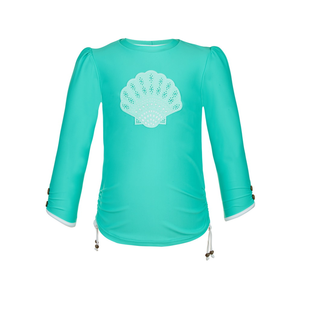 Bold and pretty long sleeve aqua rash vest with white shell appliqué and cute coconut button detail to sleeves