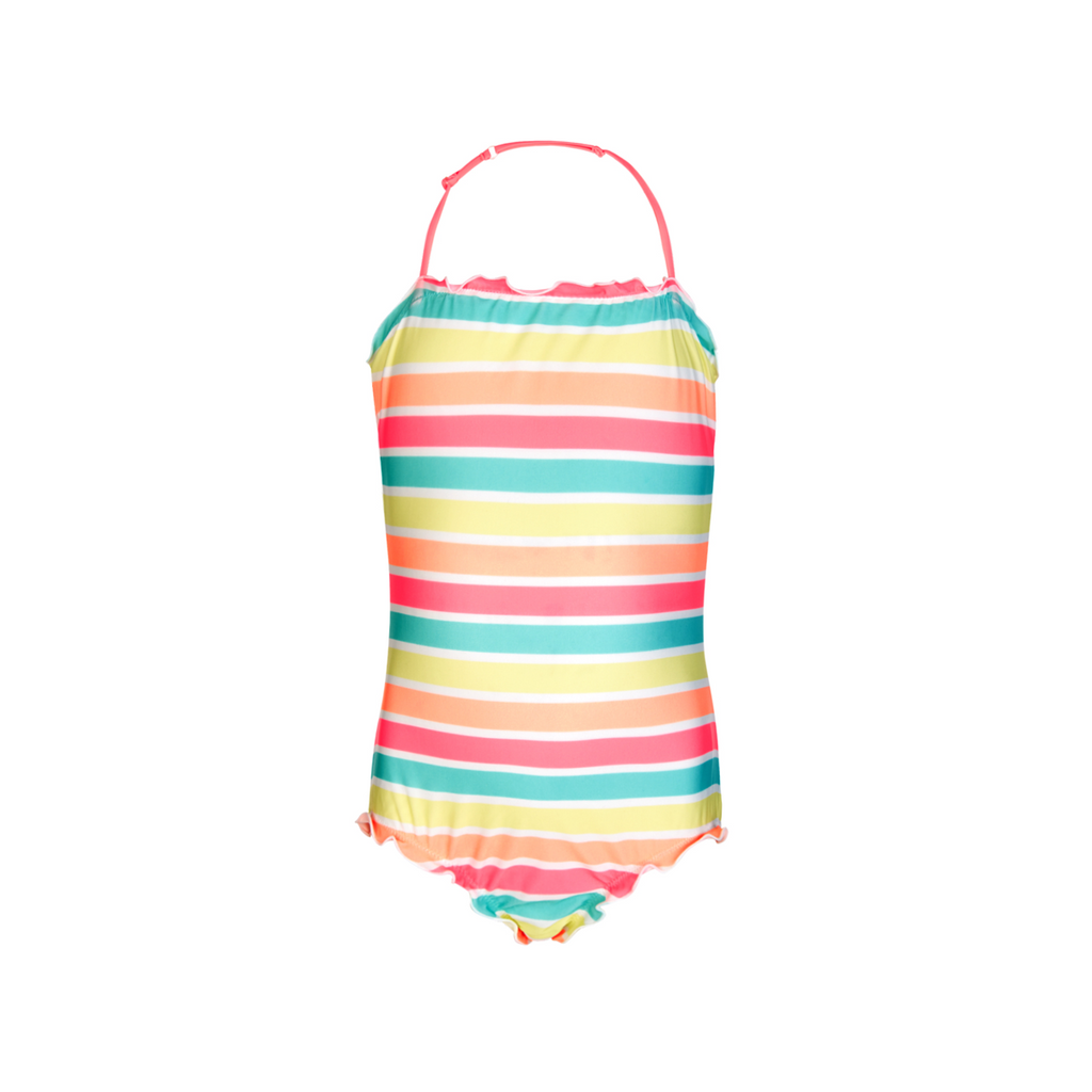 Soft neon sorbet stripe girls halter neck swimsuit with gentle frill detail at neck and leg line