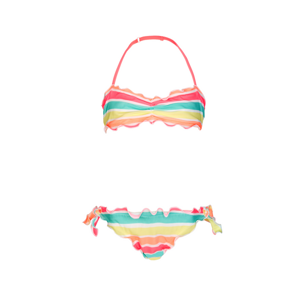 Soft neon, sorbet stripe girls halter neck bikini with ruched bikini top and gentle frill detail