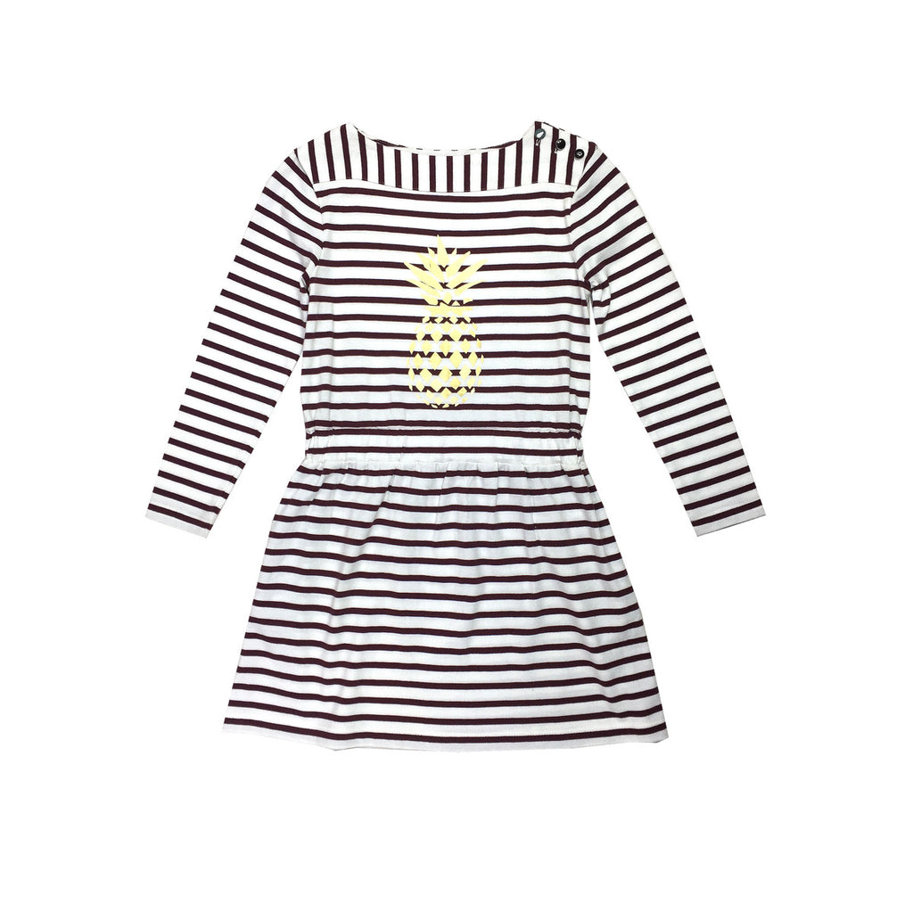 Breton Stripe beach dress in burgundy and white with fun gold pineapple print to front and button details to left shoulder. 100% cotton and useful pockets in side seams