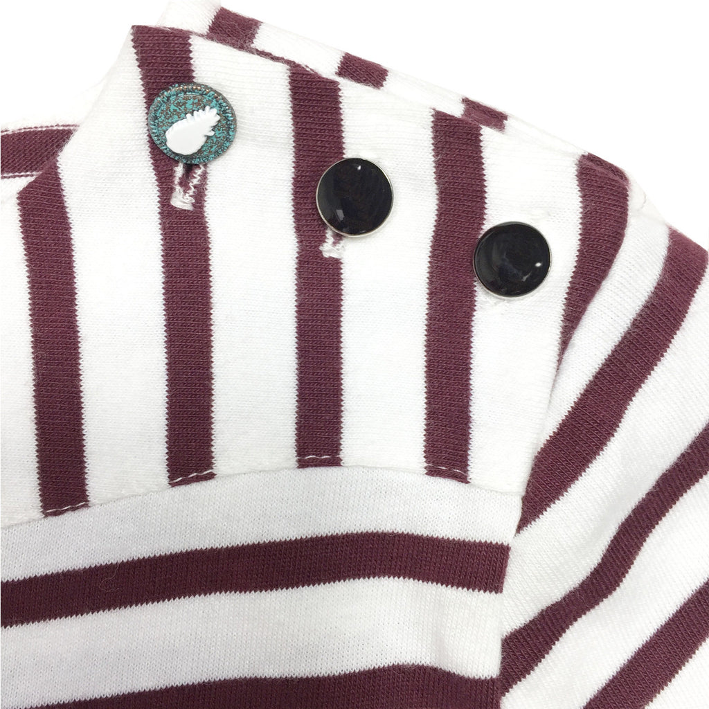 Close up of shoulder button detail on burgundy striped dress
