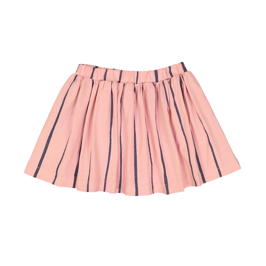 Soft pink full short cotton skirt with wide blue stripe detail. Elasticated waist