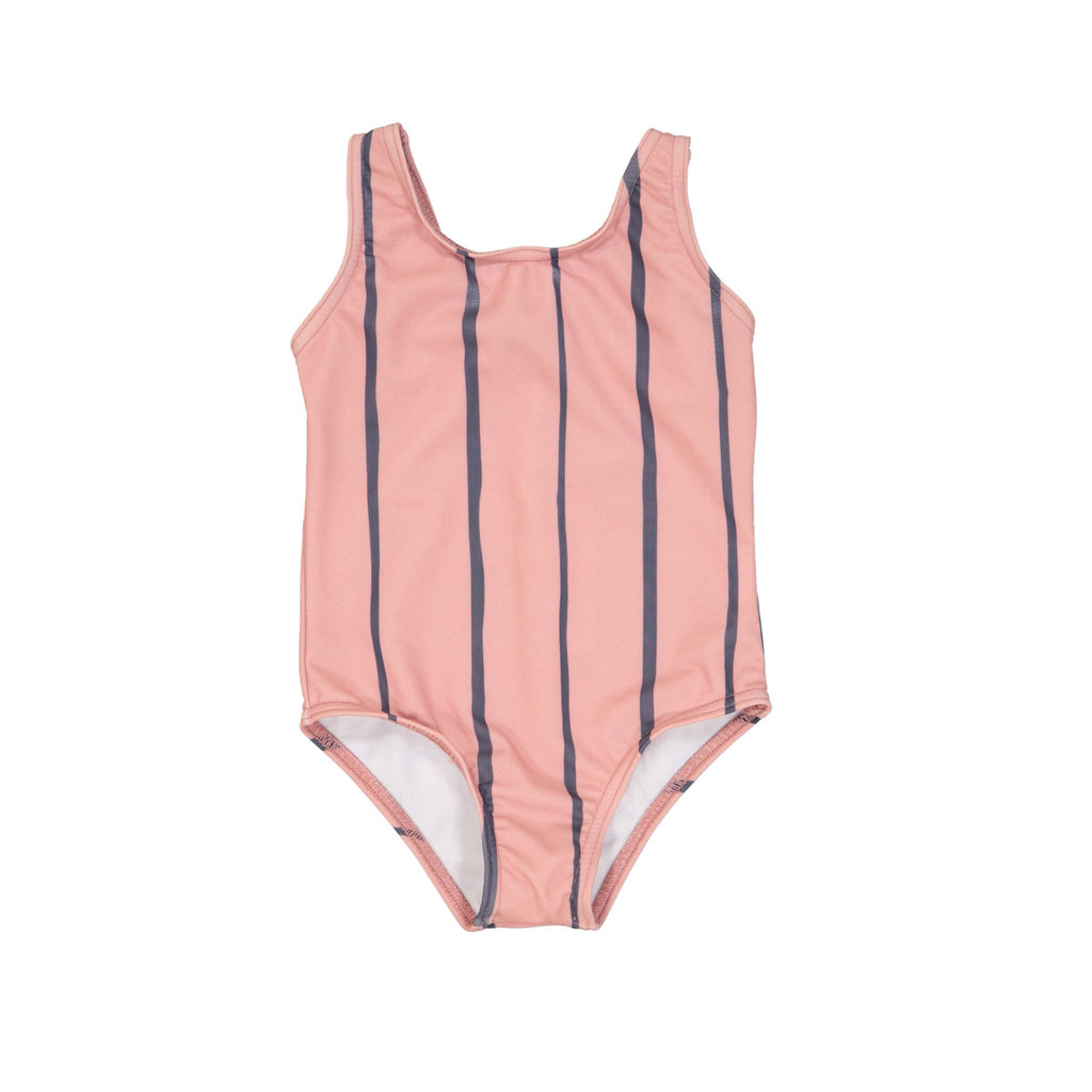 Soft pink classic shaped swimsuit with wide blue stripe detail.