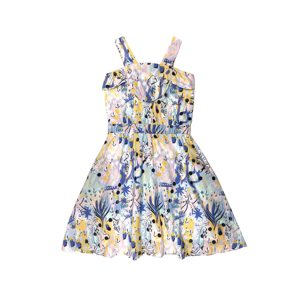 Modern classic sundress with flare skirt in a beautiful pastel tropical artwork