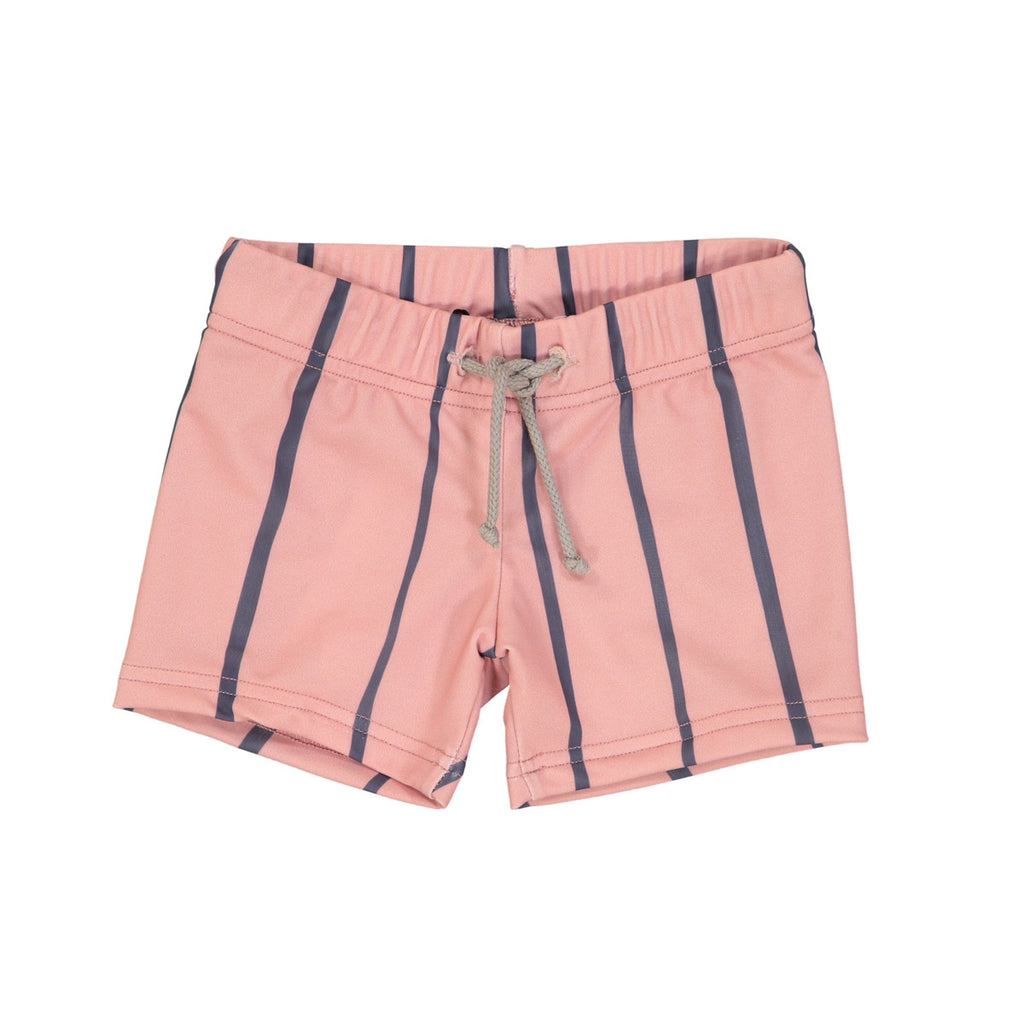 Soft pink mid-length swim trunks with wide blue stripe detail. Rope drawstring waist.