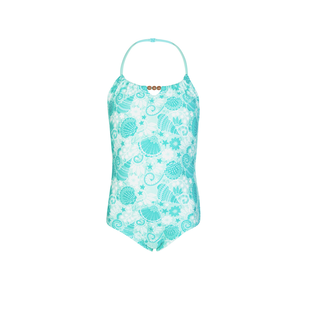 Beautiful shell print halterneck swimsuit. Colourful and bright print in shades of aqua - with mock wooden bead detail