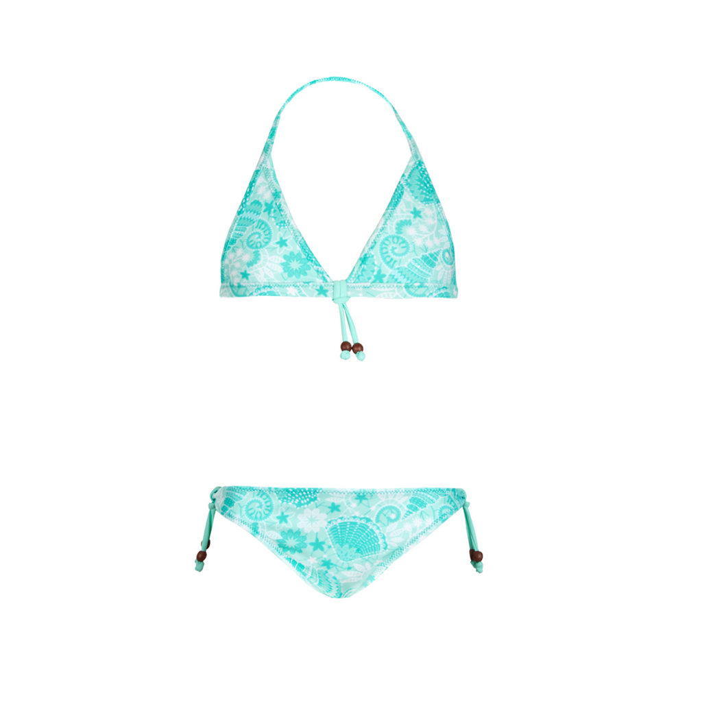 Beautiful shell print triangle bikini. Colourful and bright print in shades of aqua - with mock wooden bead detail